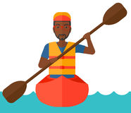 Man riding in canoe. An african-american man riding in a canoe vector flat design illustration isolated on white background Royalty Free Stock Images