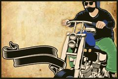 Man riding a custom chopper bike poster illustration. Isolated on brown background Royalty Free Stock Photos
