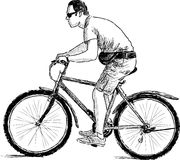 Man riding a cycle Royalty Free Stock Photos