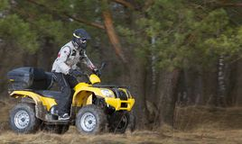 Man riding dirty 4x4 ATV quad bike Royalty Free Stock Photo