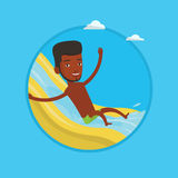 Man riding down waterslide vector illustration. Royalty Free Stock Photography