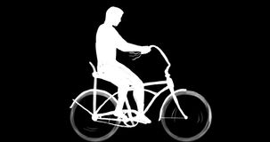 Man riding easy rider bicycle side 2d animation stock video