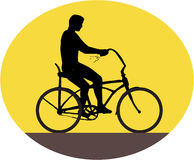 Man Riding Easy Rider Bicycle Silhouette Oval Retro Stock Images
