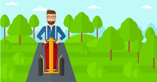 Man riding on electric scooter. Stock Images