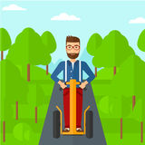 Man riding on electric scooter. Royalty Free Stock Images