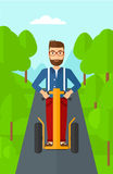 Man riding on electric scooter. Royalty Free Stock Photos