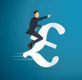 A man riding Euro icon vector. business concept illustration. way to success. Stock Photo
