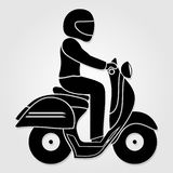 Man riding fast retro scooter icon isolated on white background. Vector illustration royalty free illustration