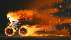 Man riding a fire bicycle. Man riding a mountain bike with burning fire on dark background, digital art style, illustration painting Royalty Free Stock Images