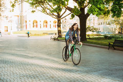 Man riding fixed-gear bicycle Royalty Free Stock Photography