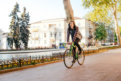Man riding fixed-gear bicycle Royalty Free Stock Photo
