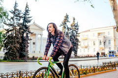 Man riding fixed-gear bicycle Royalty Free Stock Images