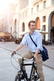 Man riding his bicycle Royalty Free Stock Photos