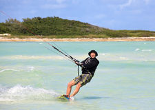 Man riding his kiteboard. Cayo Guillermo in Atlantic Ocean Stock Images