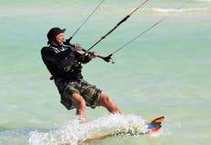 Man riding his kiteboard. Cayo Guillermo in Atlantic Ocean Stock Photo