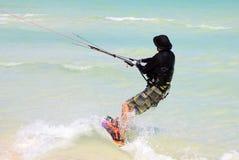 Man riding his kiteboard. Cayo Guillermo in Atlantic Ocean Royalty Free Stock Photography