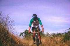 Man Riding His Mountain Bike Royalty Free Stock Photo