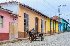Man riding a horse carriage in Trinidad, Cuba Royalty Free Stock Images