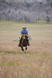 Man riding horse at speed Royalty Free Stock Image