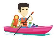 Man riding in kayak vector illustration. Royalty Free Stock Photo