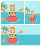 Man riding in kayak vector illustration. Stock Photo