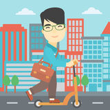 Man riding kick scooter vector illustration. Royalty Free Stock Images