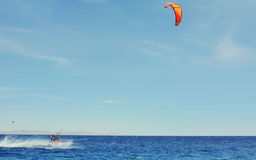 Man riding on kite surf board on Red Sea, Dahab Stock Image
