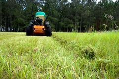 Man riding lawnmower stock images