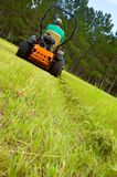 Man riding lawnmower. A man mowing a large grassy area with a pine tree background with a zero turn vehicle.  Back and angled view