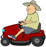 Man On A Riding Lawnmower Royalty Free Stock Image