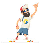 Man riding longboard. Hipster man character with beard riding longboard. Adult man rides skateboard. Vector illustration cartoon person  on white background Stock Photos
