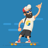 Man riding longboard. Hipster character man with a beard in the headphones, fitness tracker, and the cap rides on a longboard. A grown man rides a skateboard Royalty Free Stock Photos