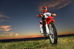 Man Riding Motocross Byke Stock Images