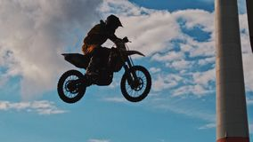 Man Riding Motocross Dirt Bike Stock Images