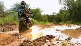 Man riding a motor cross bike stock video