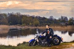 Man riding a motorcycle Royalty Free Stock Images