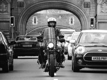 Man Riding Motorcycle Grayscale Photograhy Stock Images