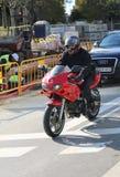 Man riding a motorcycle near construction Royalty Free Stock Photo