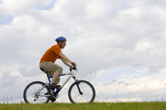 Man riding a mountain bike Stock Photography