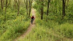 Man riding a mountain bike downhill style video stock video