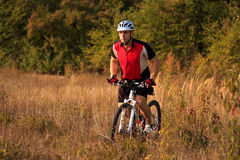 Man is riding a mountain bike in the field Stock Image