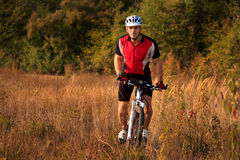 Man is riding a mountain bike in the field Royalty Free Stock Image