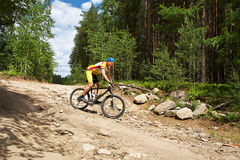 Man riding a mountain bike stock photos