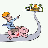 Man riding piggybank heading to his goal Royalty Free Stock Photos