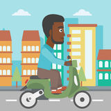 Man riding scooter vector illustration. Royalty Free Stock Photos