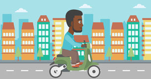 Man riding scooter vector illustration. Stock Images