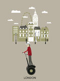 Man riding a segway. London. vector illustration