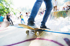 Man riding on a skateboard. Skatepark. In motion royalty free stock photos