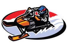 Man riding snow mobile. Vector of man riding snow mobile royalty free illustration