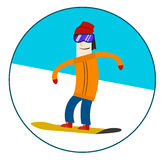 Man riding on a snowboard. Cool vector illustration in circle, isolated Stock Photo